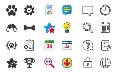 token: Pets icons. Dog paw sign. Winner laurel wreath and cup symbol. Pets food. Chat, Report and Calendar signs. Stars, Statistics and Download icons. Question, Clock and Globe. Vector