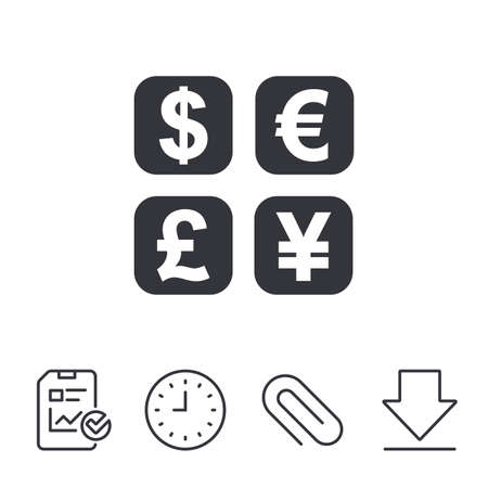 currency converter: Currency exchange sign icon. Currency converter symbol. Money label. Report, Time and Download line signs. Paper Clip linear icon. Vector Illustration