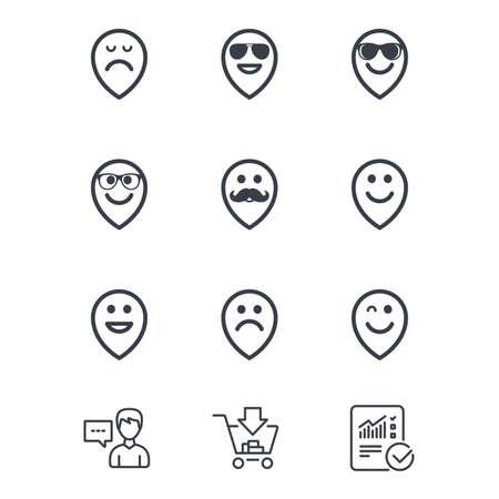 Icone dei puntatori del sorriso. Felice, triste e ammiccante affronta i segni. Occhiali da sole, baffi e ridenti simboli di smiley lol. Servizio clienti, carrello acquisti e segnaletica linea di segnalazione. Shopping e statistiche online Archivio Fotografico - 80473739