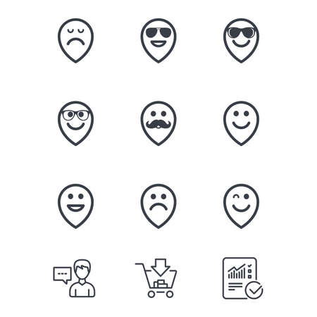 Smile pointers icons. Happy, sad and wink faces signs. Sunglasses, mustache and laughing lol smiley symbols. Customer service, Shopping cart and Report line signs. Online shopping and Statistics