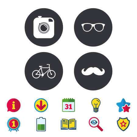 Hipster photo camera with mustache icon. Glasses symbol. Bicycle family vehicle sign. Calendar, Information and Download signs. Stars, Award and Book icons. Light bulb, Shield and Search. Vector