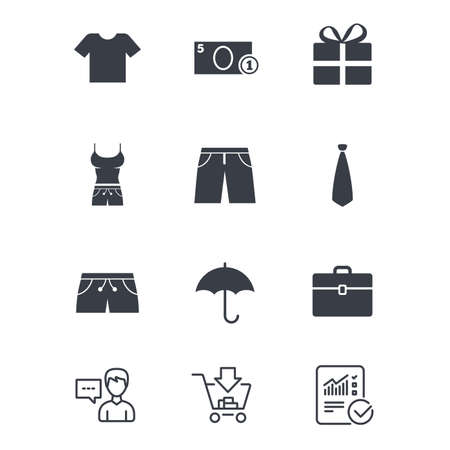 Clothing, accessories icons. T-shirt, business case signs. Umbrella and gift box symbols. Customer service, Shopping cart and Report line signs. Online shopping and Statistics. Vector Çizim