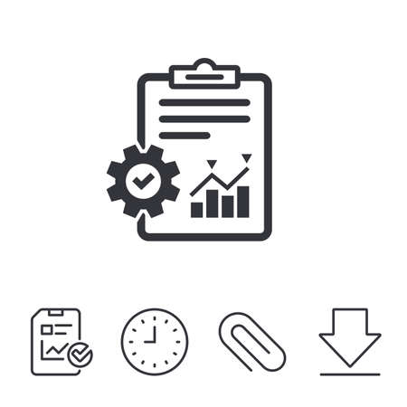 Project management icon. Report document with cogwheel symbol. File with charts symbol. Report, Time and Download line signs. Paper Clip linear icon. Vector