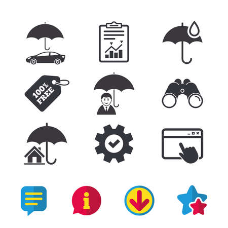 token: Life, Real estate or Home insurance icons. Umbrella with water drop symbol. Car protection sign. Browser window, Report and Service signs. Binoculars, Information and Download icons. Stars and Chat