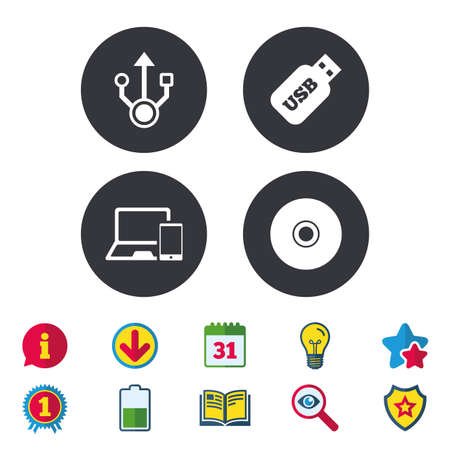 Usb flash drive icons. Notebook or Laptop pc symbols. Smartphone device. CD or DVD sign. Compact disc. Calendar, Information and Download signs. Stars, Award and Book icons. Vector Illustration