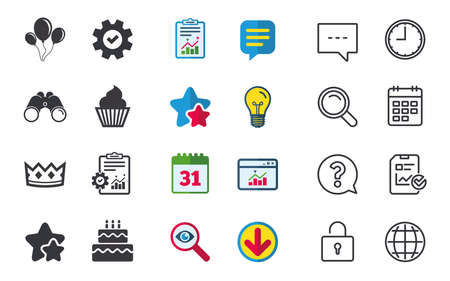 Birthday crown party icons. Cake and cupcake signs. Air balloons with rope symbol. Chat, Report and Calendar signs. Stars, Statistics and Download icons. Question, Clock and Globe. Vector Illustration