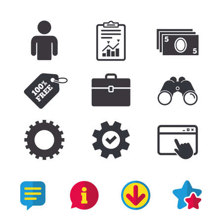 diplomat: Businessman icons. Human silhouette and cash money signs. Case and gear symbols. Browser window, Report and Service signs. Binoculars, Information and Download icons. Stars and Chat. Vector Illustration