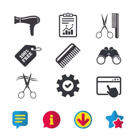 Kapper pictogrammen. Schaar geknipt haar symbool. Kam haar met föhn teken. Browservenster, rapport en serviceborden. Verrekijker, informatie en download pictogrammen. Sterren en chatten. Vector