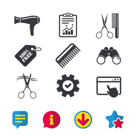 Hairdresser icons. Scissors cut hair symbol. Comb hair with hairdryer sign. Browser window, Report and Service signs. Binoculars, Information and Download icons. Stars and Chat. Vector