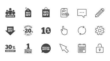 Sale discounts icon. Shopping, clients and speech bubble signs. 20, 30, 40 and 50 percent off. Special offer symbols. Chat, Report and Calendar line signs. Service, Pencil and Locker icons. Vector