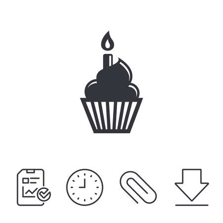 burning paper: Birthday cake sign icon. Cupcake with burning candle symbol. Report, Time and Download line signs. Paper Clip linear icon. Vector