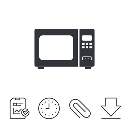 Microwave oven sign icon. Kitchen electric stove symbol. Report, Time and Download line signs. Paper Clip linear icon. Vector