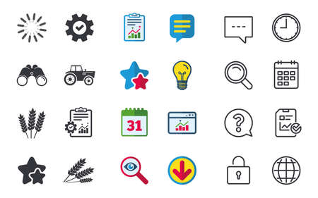 Agricultural icons. Wheat corn or Gluten free signs symbols. Tractor machinery. Chat, Report and Calendar signs. Stars, Statistics and Download icons. Question, Clock and Globe. Vector Çizim
