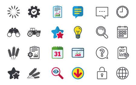 Landwirtschaftliche Symbole. Weizenmais oder Gluten-freie Zeichensymbole. Traktormaschinen. Zeichen für Chat, Bericht und Kalender. Sterne, Statistiken und Download-Symbole. Frage, Uhr und Globus. Vektor Standard-Bild - 80473788