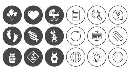 Iconos de embarazo, maternidad y cuidado de bebé. Recién nacido, cochecitos y signos de chupete. Huella, dulces y símbolos de amor. Signos de línea de documento, globo y reloj. Iconos de clip de lámpara, lupa y papel. Vector Foto de archivo - 80473790