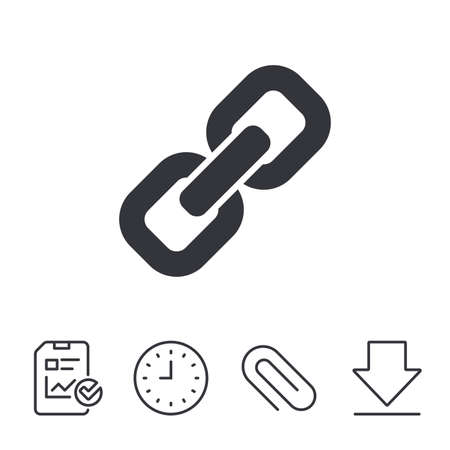 Link sign icon. Hyperlink chain symbol. Report, Time and Download line signs. Paper Clip linear icon. Vector