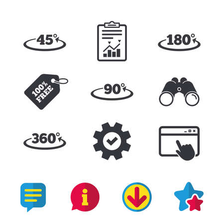 Angle 45-360 degrees icons. Geometry math signs symbols. Full complete rotation arrow. Browser window, Report and Service signs. Binoculars, Information and Download icons. Stars and Chat. Vector Ilustração