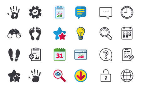 Hand and foot print icons. Imprint shoes and barefoot symbols. Stop do not enter sign. Chat, Report and Calendar signs. Stars, Statistics and Download icons. Question, Clock and Globe. Vector Illustration
