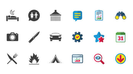 woman hiking: Hiking trip icons. Camping, shower and wc toilet signs. Tourist tent, fork and knife symbols. Calendar, Report and Download signs. Stars, Service and Search icons. Statistics, Binoculars and Chat