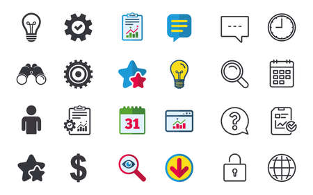 Business icons. Human silhouette and lamp bulb idea signs. Dollar currency and gear symbols. Chat, Report and Calendar signs. Stars, Statistics and Download icons. Question, Clock and Globe. Vector Illustration