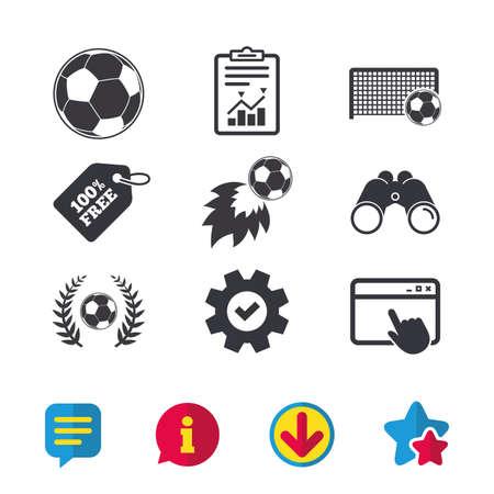 Voetbal iconen. Voetbalbal sport teken. Doelpunten poort symbool. Winnaar award laurierkrans. Goalscorer vuurbal. Browservenster, Rapport en Service tekens. Verrekijkers, Informatie en Download iconen
