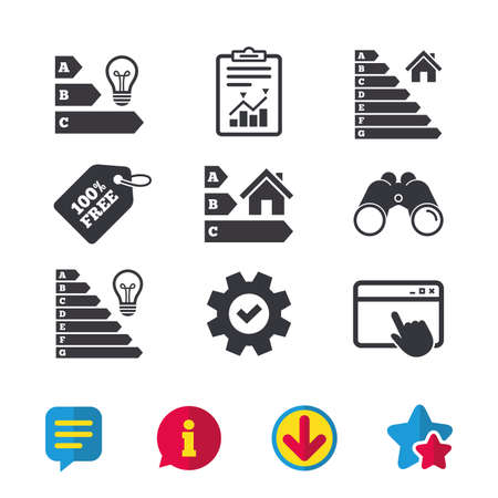 Energy efficiency icons. Lamp bulb and house building sign symbols. Browser window, Report and Service signs. Binoculars, Information and Download icons. Stars and Chat. Vector