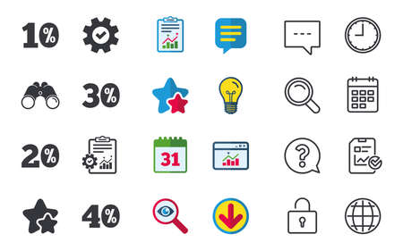 Sale discount icons. Special offer price signs. 10, 20, 30 and 40 percent off reduction symbols. Chat, Report and Calendar signs. Stars, Statistics and Download icons. Question, Clock and Globe