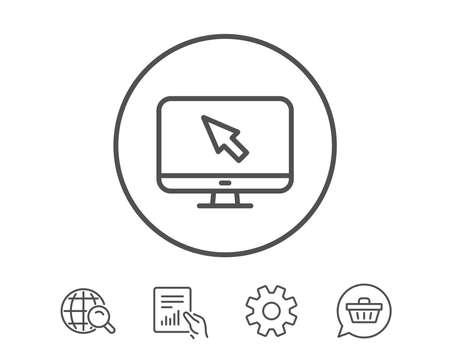 컴퓨터 또는 모니터 아이콘. 마우스 커서 기호입니다. 개인용 컴퓨터 기호. 보고서, 서비스 및 글로벌 검색 라인 신호 보류. 쇼핑 카트 아이콘입니다.