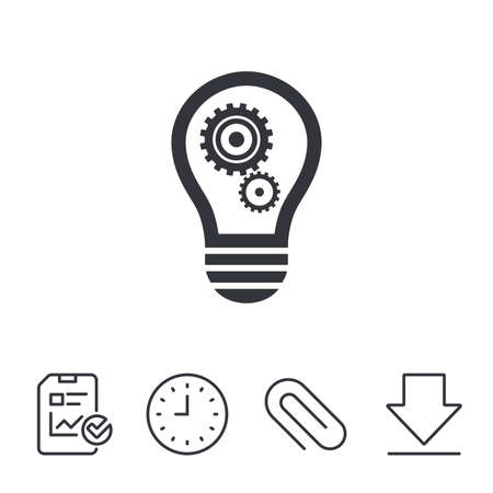 token: Light lamp sign icon. Bulb with gears and cogs symbol. Idea symbol. Report, Time and Download line signs. Paper Clip linear icon. Vector