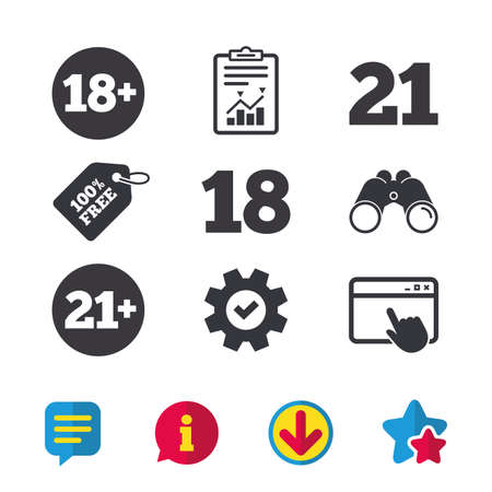Adult content icons. Eighteen and twenty-one plus years sign symbols. Browser window, Report and Service signs. Binoculars, Information and Download icons. Stars and Chat. Vector Illustration