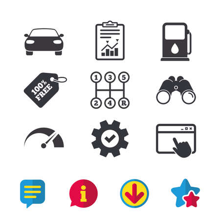 Transport icons. Car tachometer and manual transmission symbols. Petrol or Gas station sign. Browser window, Report and Service signs. Binoculars, Information and Download icons. Stars and Chat Illustration