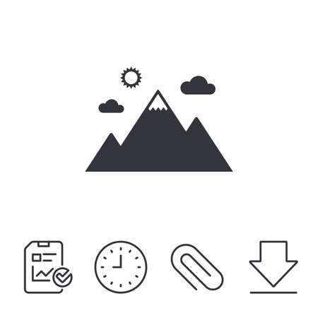 Mountain icon. Mountaineering sport sign. Leadership motivation concept. Report, Time and Download line signs. Paper Clip linear icon. Vector