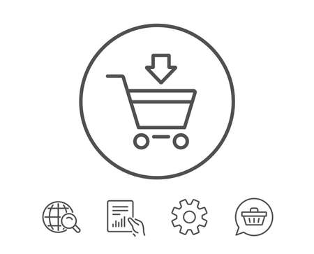 Add to Shopping cart line icon. Online buying sign. Supermarket basket symbol. Hold Report, Service and Global search line signs. Shopping cart icon. Editable stroke. Vector Illustration