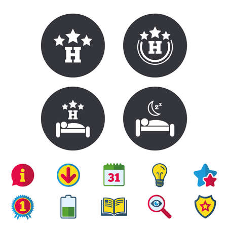 Three stars hotel icons. Travel rest place symbols. Human sleep in bed sign. Calendar, Information and Download signs. Stars, Award and Book icons. Light bulb, Shield and Search. Vector