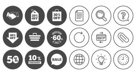 Sale discounts icon. Shopping, handshake and cart signs. 10, 50 and 60 percent off. Special offer symbols. Document, Globe and Clock line signs. Lamp, Magnifier and Paper clip icons. Vector Illustration