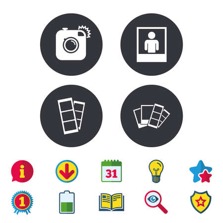 star award: Hipster photo camera icon. Flash light symbol. Photo booth strips sign. Human portrait photo frame. Calendar, Information and Download signs. Stars, Award and Book icons. Light bulb, Shield and Search