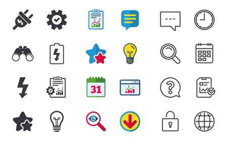 Electric plug icon. Lamp bulb and battery symbols. Low electricity and idea signs. Chat, Report and Calendar signs. Stars, Statistics and Download icons. Question, Clock and Globe. Vector Фото со стока - 80473835