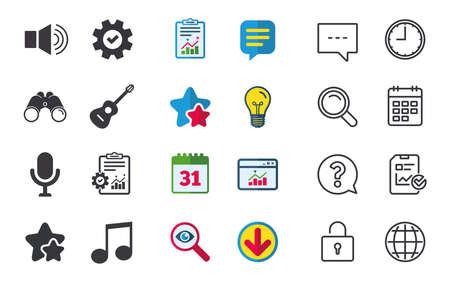 Muzikale elementenpictogrammen. Luidsprekersymbolen voor microfoon en geluid. Muzieknoot en akoestische gitaarborden. Chat-, rapport- en kalenderborden. Sterren, Statistieken en Download pictogrammen. Vraag, klok en wereld