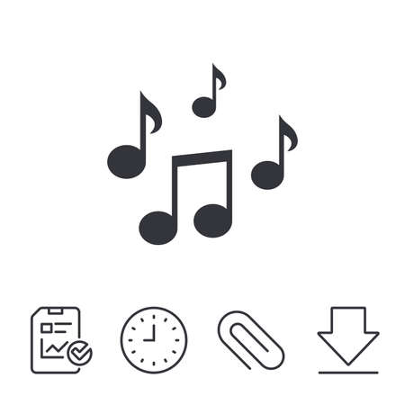 token: Music notes sign icon. Musical symbol. Report, Time and Download line signs. Paper Clip linear icon. Vector Illustration