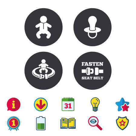Baby infants icons. Toddler boy with diapers symbol. Fasten seat belt signs. Child pacifier and pram stroller. Calendar, Information and Download signs. Stars, Award and Book icons. Vector