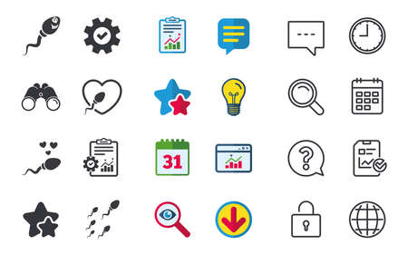 Sperm icons. Fertilization or insemination signs. Safe love heart symbol. Chat, Report and Calendar signs. Stars, Statistics and Download icons. Question, Clock and Globe. Vector Illustration