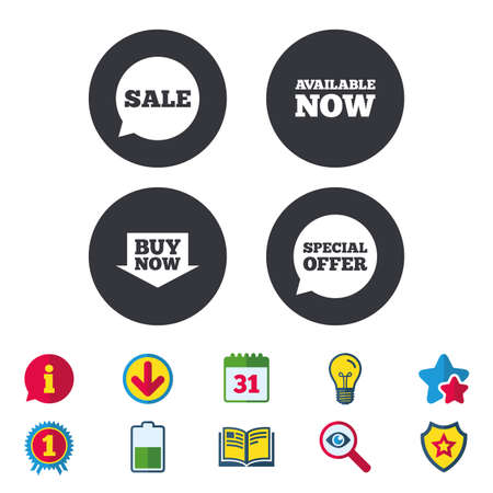 Sale icons. Special offer speech bubbles symbols. Buy now arrow shopping signs. Available now. Calendar, Information and Download signs. Stars, Award and Book icons. Light bulb, Shield and Search