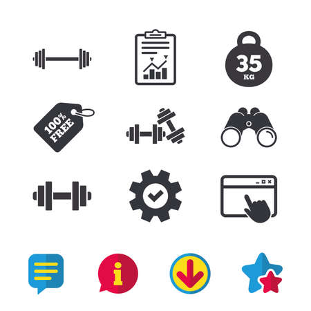 Dumbbells sign icons. Fitness sport symbols. Gym workout equipment. Browser window, Report and Service signs. Binoculars, Information and Download icons. Stars and Chat. Vector Illustration