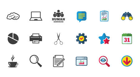 Office, documents and business icons. Human resources, notebook and printer signs. Scissors, magnifier and coffee symbols. Calendar, Report and Download signs. Stars, Service and Search icons. Vector