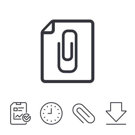File annex icon. Paper clip symbol. Attach symbol. Report, Time and Download line signs. Paper Clip linear icon. Vector