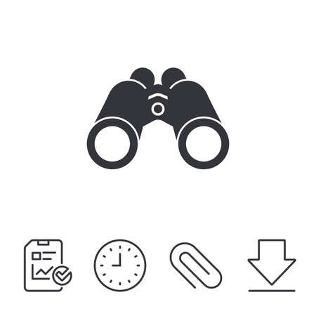 Binoculars icon. Find software sign. Spy equipment symbol. Report, Time and Download line signs. Paper Clip linear icon. Vector