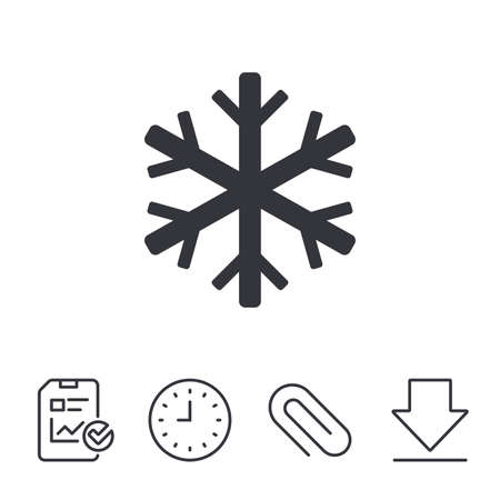 token: Snowflake sign icon. Air conditioning symbol. Report, Time and Download line signs. Paper Clip linear icon. Vector