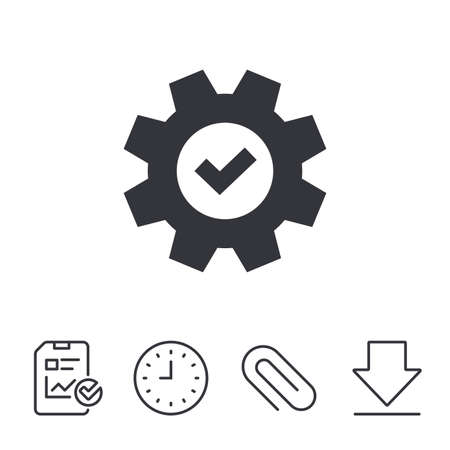 setup: Service icon. Cogwheel with tick sign. Check symbol. Report, Time and Download line signs. Paper Clip linear icon. Vector Illustration