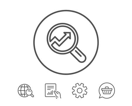 Chart line icon. Report graph or Sales growth sign in Magnifying glass. Analysis and Statistics data symbol. Hold Report, Service and Global search line signs. Shopping cart icon. Editable stroke Ilustração