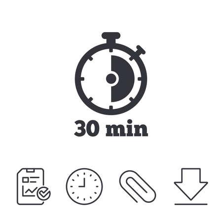 タイマー記号アイコン。30 分ストップウォッチのシンボル。レポート、時間、線記号をダウンロードします。ペーパー クリップ線形アイコン。ベク  イラスト・ベクター素材